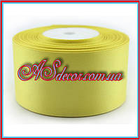 Лента атласная - 5 см желтая