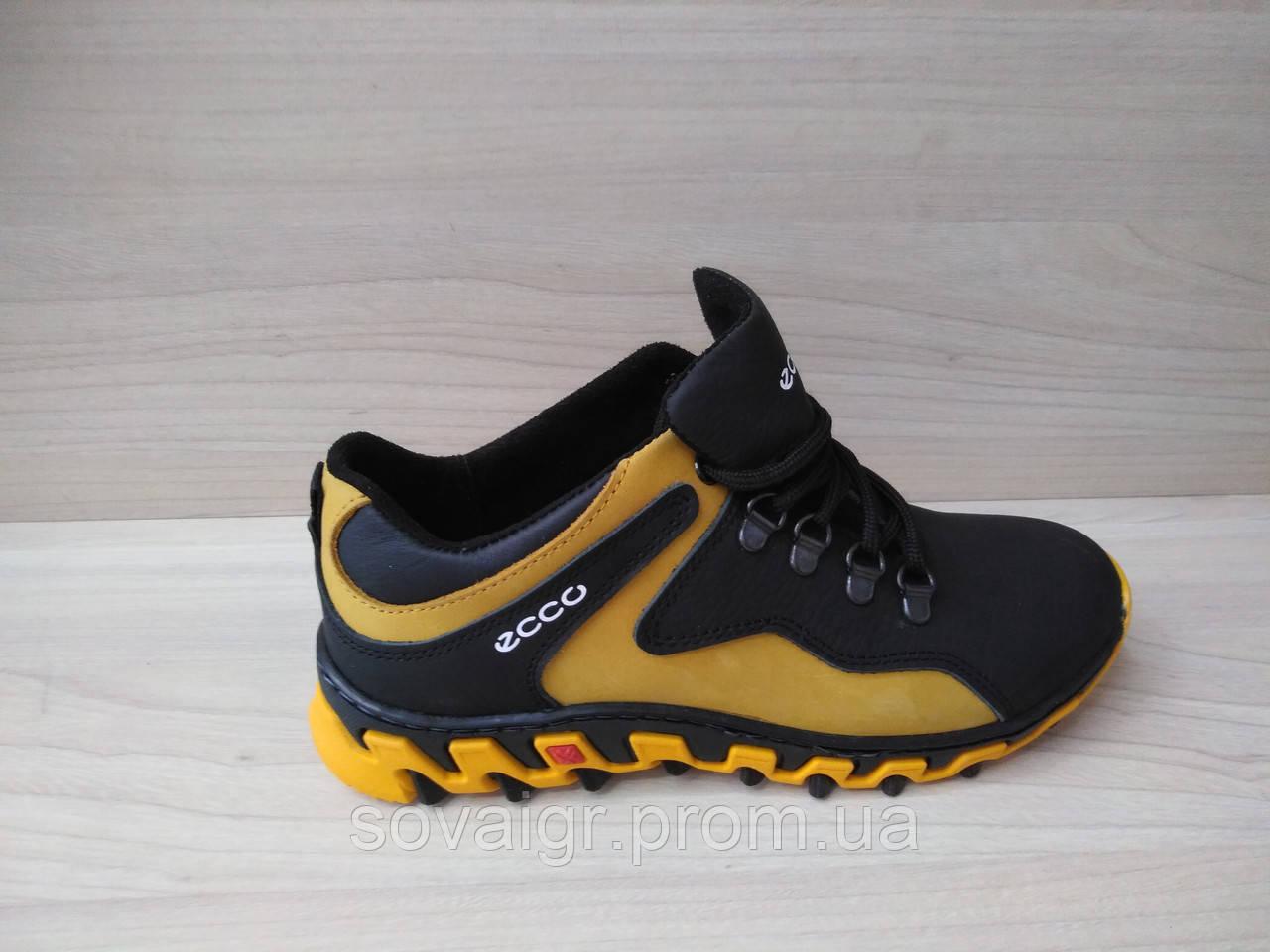 Подростковые натуральные демисезонные кроссовки Ecco (реплика)