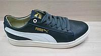 Подростковые кожаные кроссовки Puma (реплика) черные