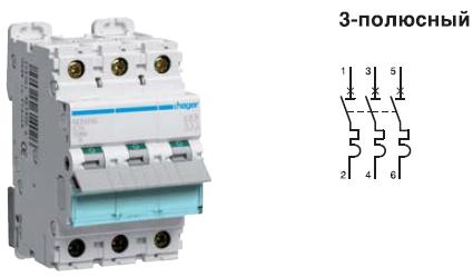 Автоматический выключатель 32 А, 3п, D, 10 kA, hager, Франция