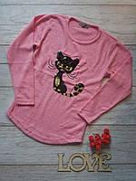 Туника на девочку, кофта с пайетками, свитер детский теплый, 122-128см розовая