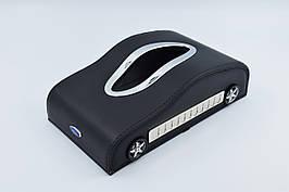 Салфетница Ford кожаная в автомобиль с логотипом и местом для номера телефона Black Форд подарочная салфетница