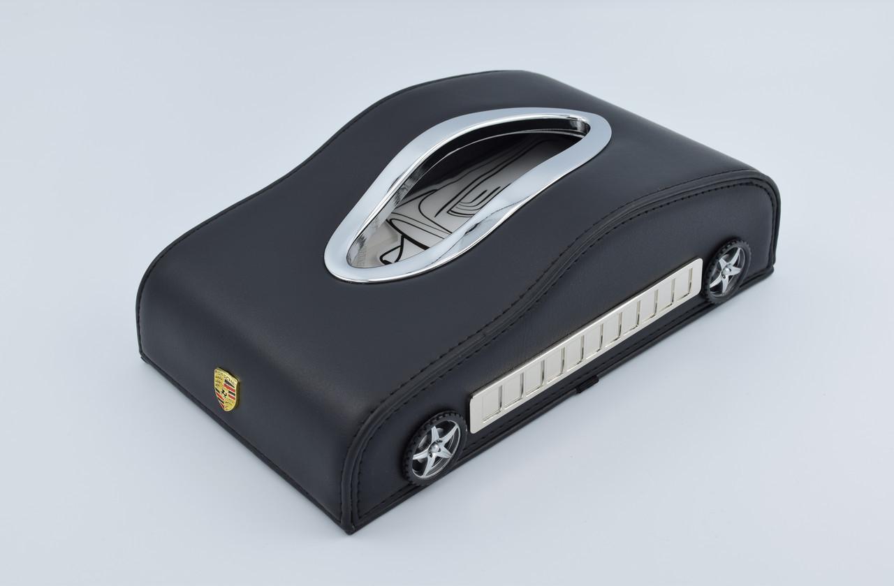 Салфетница Porsche кожаная в автомобиль с логотипом и местом для номера телефона Black Порше подарочная салфетница
