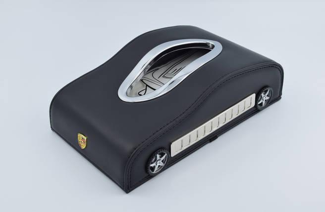 Салфетница Porsche кожаная в автомобиль с логотипом и местом для номера телефона Black Порше подарочная салфетница, фото 2