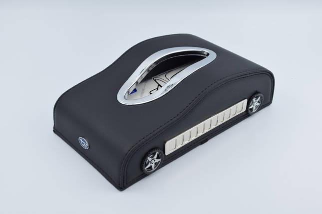 Салфетница Subaru кожаная в автомобиль с логотипом и местом для номера телефона Black Субару подарочная салфетница, фото 2