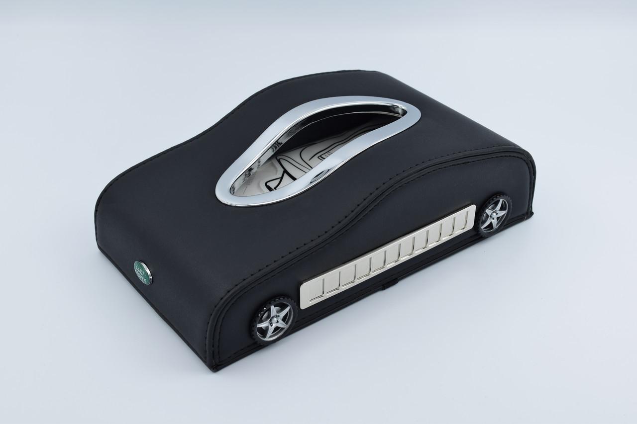 Салфетница Land Rove кожаная в автомобиль с логотипом и местом для номера телефона Black Ленд Ровер подарочная салфетница