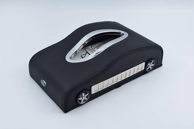Салфетница Land Rove кожаная в автомобиль с логотипом и местом для номера телефона Black Ленд Ровер подарочная салфетница, фото 2