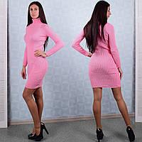 Женское вязаное платье с воротником розового цвета Winter D108-2 Размер 42-44
