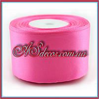 Лента атласная - 5 см розовый электрик