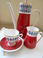 Эксклюзивный кофейный сервиз из тончайшего фарфора цвета бордо в стиле арт-деко ГДР
