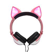 Навушники LINX Bear Ear Headphone навушники з вушками Лисички LED Рожевий (SUN2651)