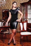 Чёрное платье с кожаными вставками облегающее с рукавом-японкой