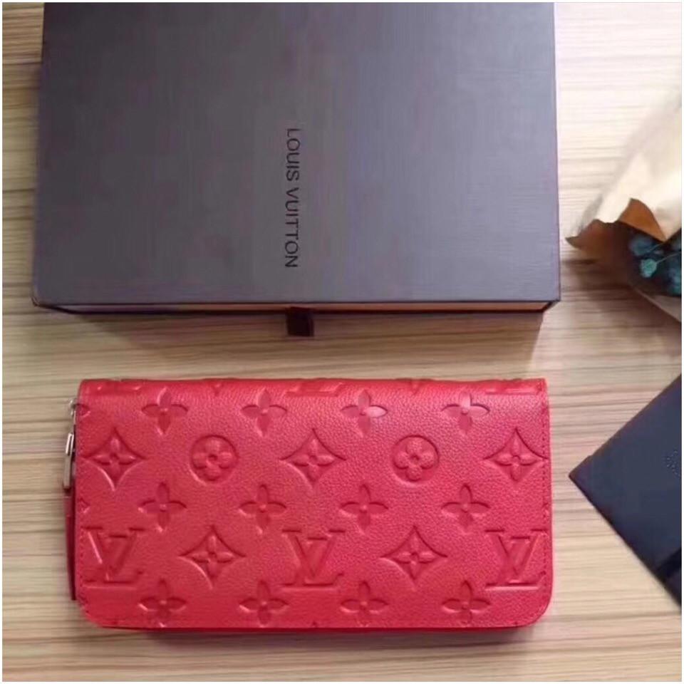Гаманець Луї Вітон, Louis Vuitton monogram, шкіра, колір червоний