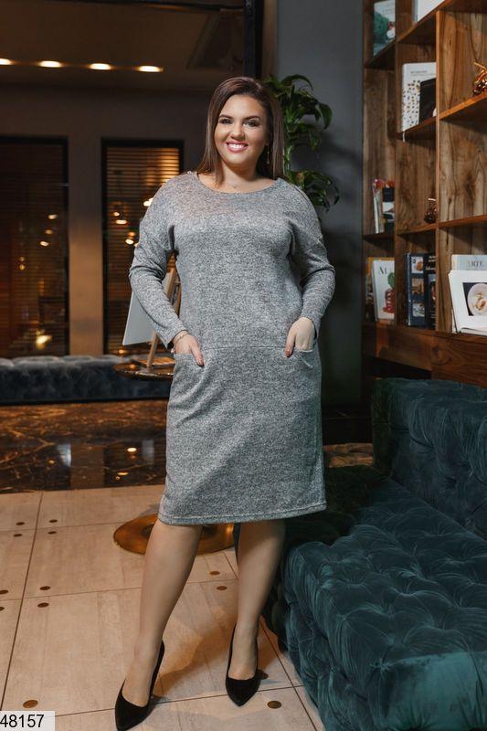 Платье женское демисезонное серое размеры: 50-62