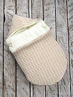 Вязанный зимний конверт кокон для новорожденных, бежевый на махре, фото 1
