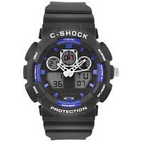 Часы наручные C-SHOCK GA-100B Black-Blue, подсветка 7 цветов