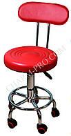 Стул мастера маникюра со спинкой (красный)
