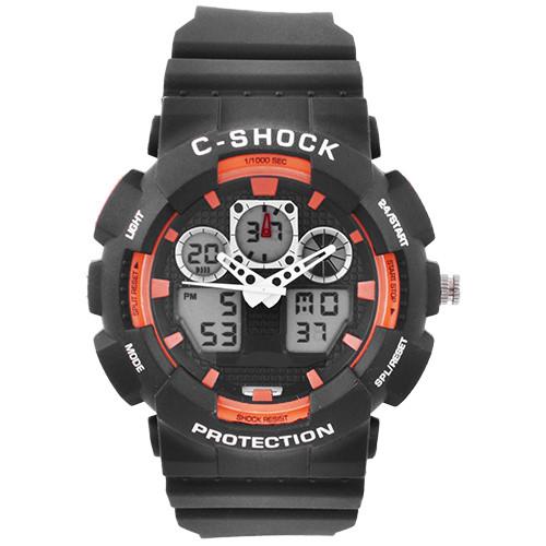 Годинники наручні C-SHOCK GA-100B Black-Orange підсвітка 7 кольорів