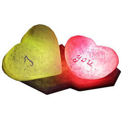 """Соляной светильник Артемсоль, """"2 сердца"""" на одной подставке"""