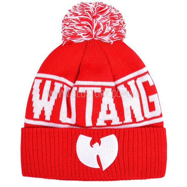 Шапка Wu-Tang, двойная, с помпоном