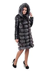 Куртка Жилет с кожаным рукавом из меха чернобурки