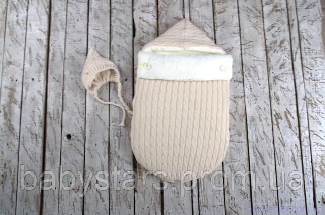 конверт-кокон с вязанной шапочкой на махре для малыша