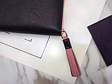 Гаманець Прада натуральна шкіра чорний з рожевим, фото 3
