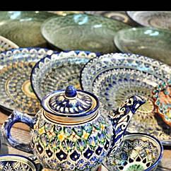 Узбекская посуда. Узбекский Риштан, Пахта, Пахтагуль. Восточная лавка. Восточный базар.