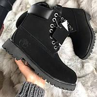 Мужские зимние ботинки Timberland Black Fur на меху (Цигейка)