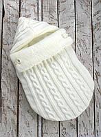 Вязанный зимний конверт кокон на выписку для новорожденных, молочный на махре, фото 1