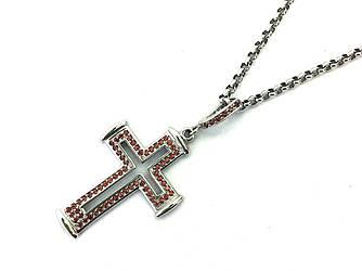 Золотой крестик с бриллиантами из белого золота 585