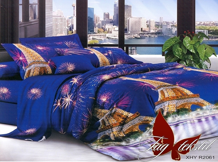 Комплект постельного белья XHY2061 двуспальный (TAG polycotton 2-sp-528)