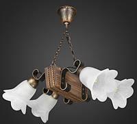 Люстра бревно деревянная на цепи AR-002826 4 лампы, фото 1