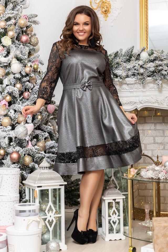 Платье БАТАЛ  сетка + пайетки 68075
