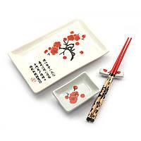 """Набор посуды, сервиз керамический для суши и роллов  """"Белый с сакурой""""(28х14 см)(1 персона)"""