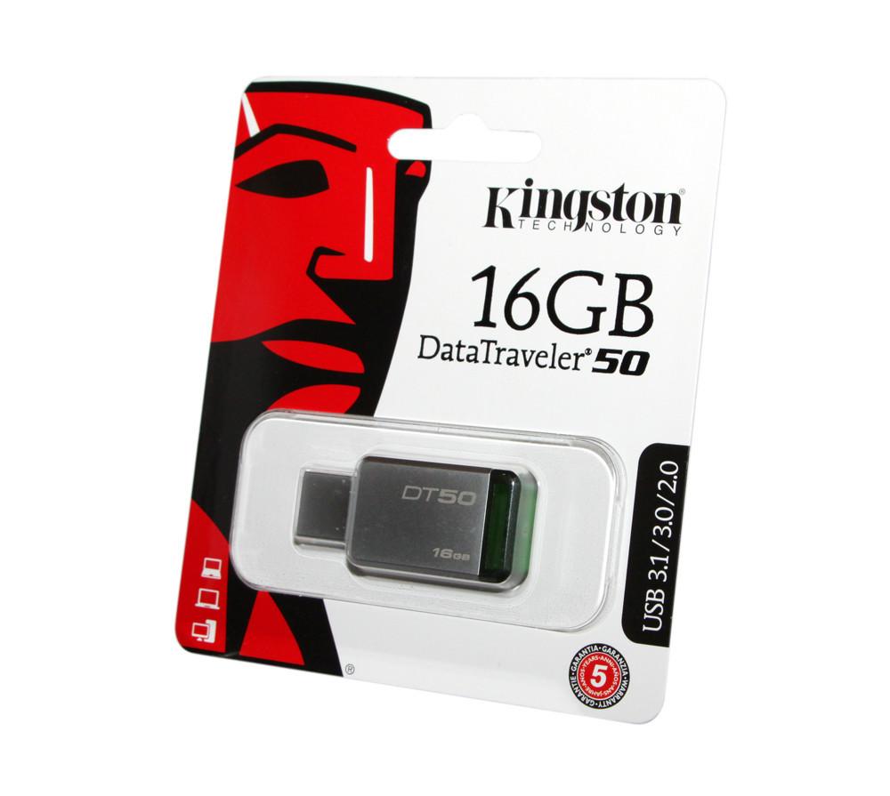 Флешка USB 3.0 16 Gb Kingston 50 Metal-Green / DT50/16 Gb