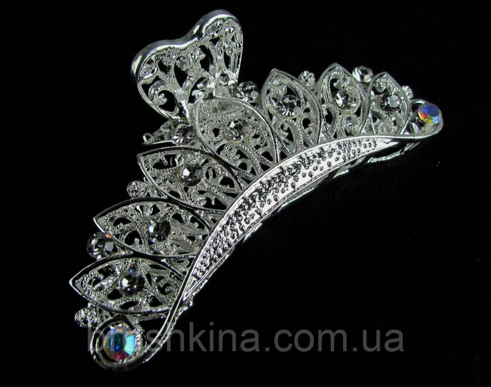 Краб для волос металл серебристый со стразами L 9 см