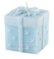 Свеча подарок 8 см голубая