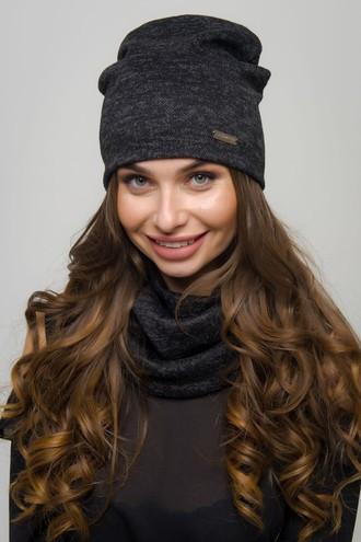 "Женская шапка в комплекте со снудом ""Флафи ангора 5"""