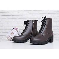 a410635c6 Зимние кожаные женские коричневые ботинки тракторная подошва широкий каблук  36 39 40 41 размер, фото