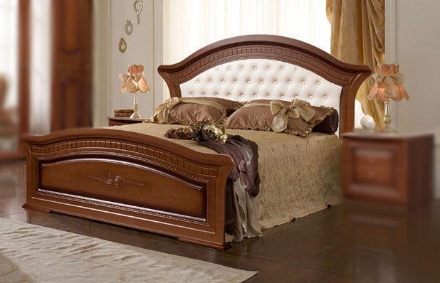Кровать 1800х2000 с мягким изголовьем Венера СлонимМебель орех, белая