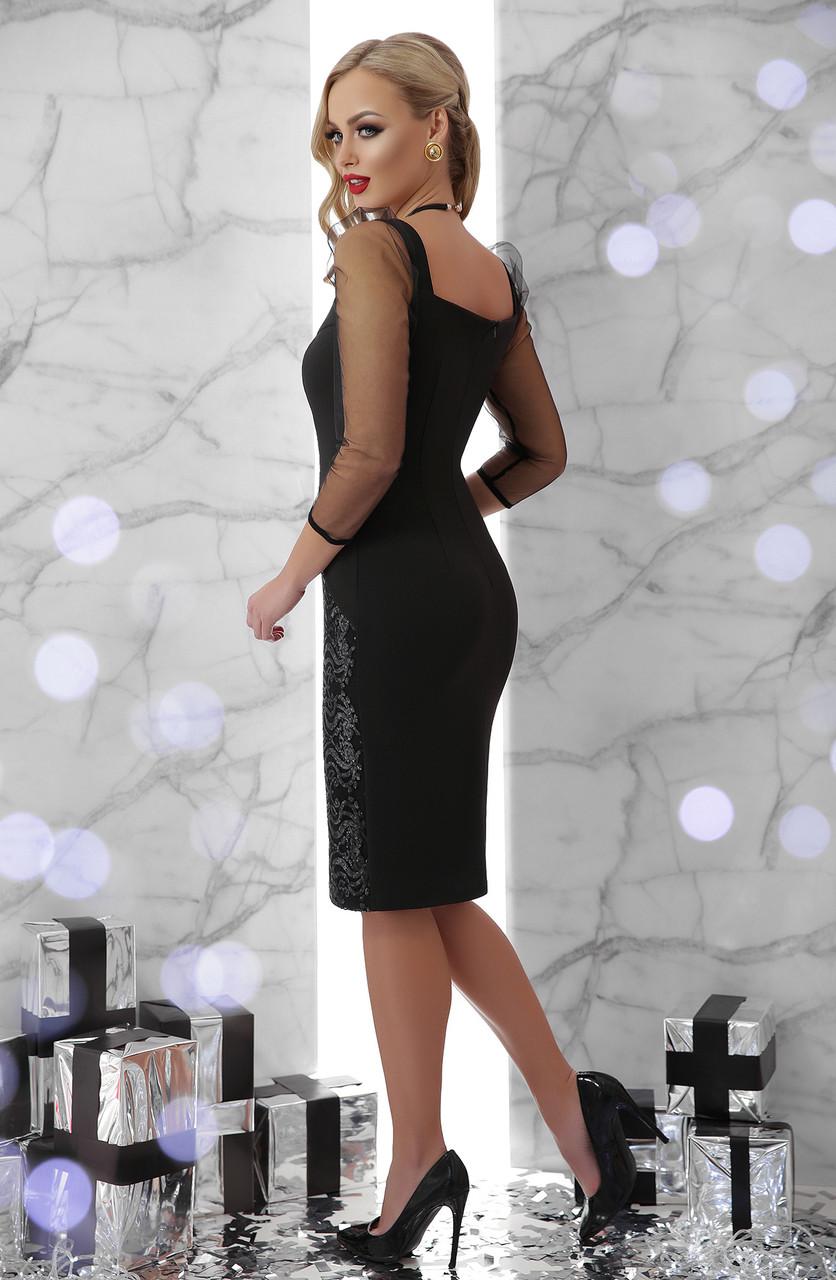 280cdfc5804 Нарядное черное платье-футляр с прозрачными рукавами и силуэтом из пайеток