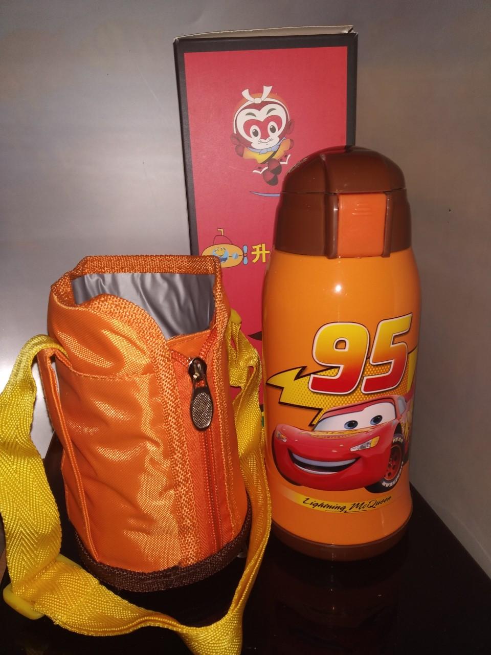 Термос детский питьевой с трубочкой и термочехлом Молния Маквин 500 мл., фото 1