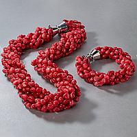 Коралл красный, комплект браслет и бусы, 053НК