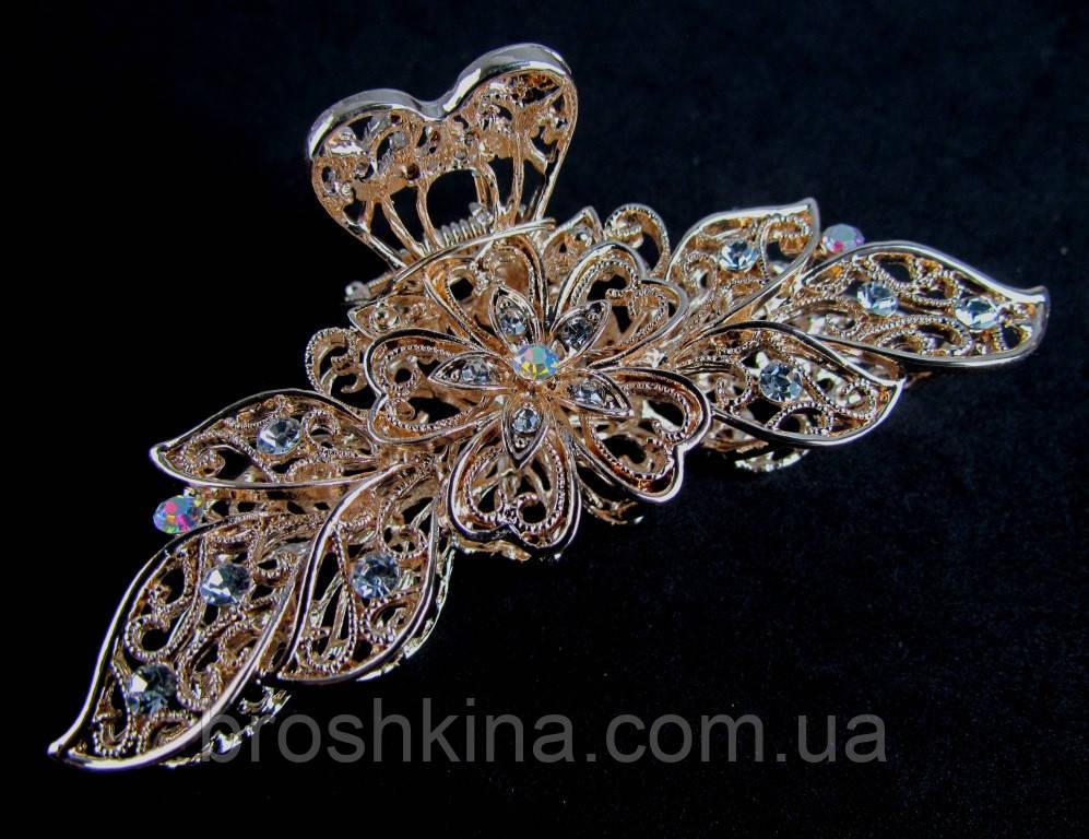 Краб для волос металл золотистый со стразами L 9 см