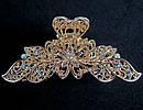Краб для волос металл золотистый со стразами L 9 см, фото 2