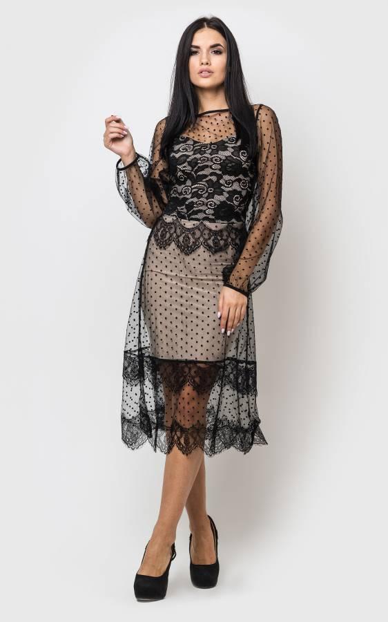 Шикарное вечернее платье с сеткой