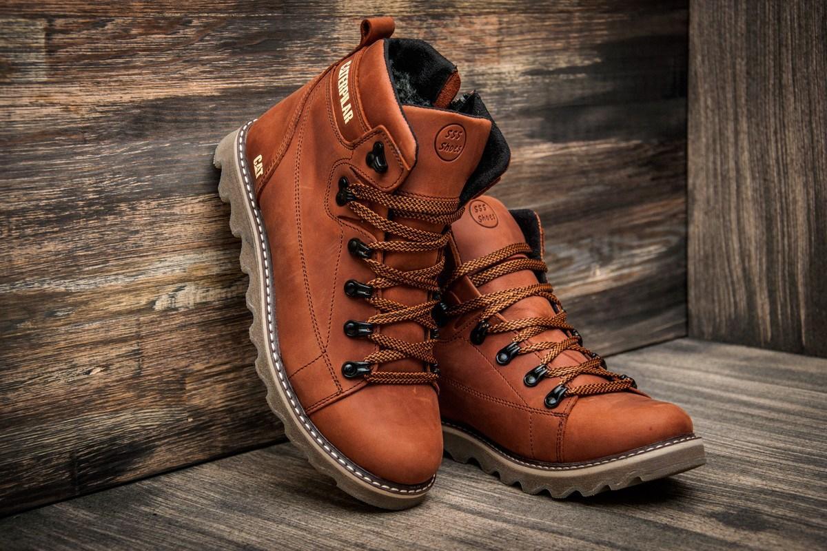 b1550ceb Зимние мужские кожаные коричневые ботинки Caterpillar. Харьков ...
