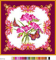 Схема для вишивання хрестиком,  малюнок на канві, 33*36 подушка