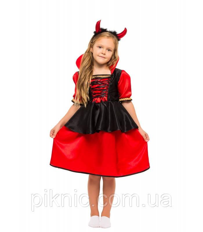 Костюм Дьяволица, Вампирша для девочек 4,5,6,7,8,9 лет. Детский карнавальный новогодний костюм 344